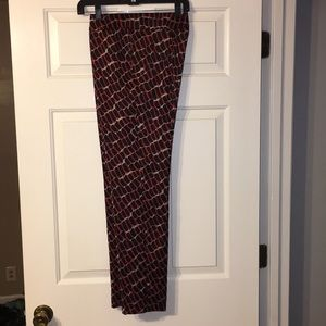 Escada red and black print pleat pants
